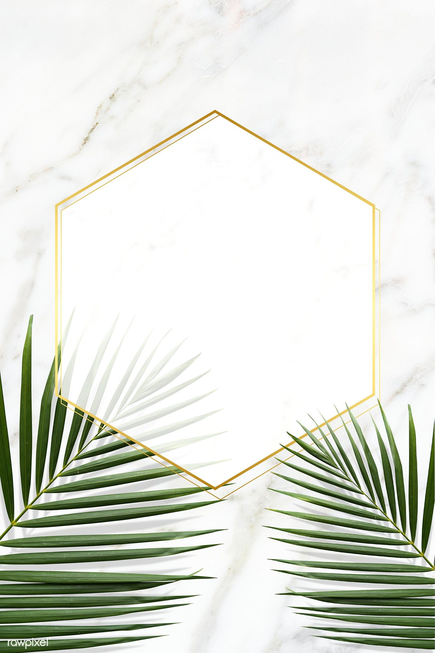 Download Premium Image Of Hexagon Golden Frame On A Marble