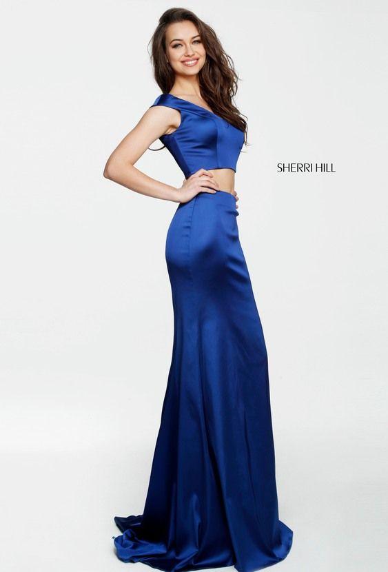 Sherri Hill 51251 Cap Sleeves 2 Piece 2017 V Neck Long Satin Evening Gowns  Royal