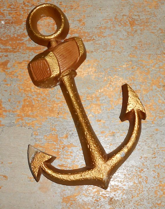 Vintage Anchor Wall Decor : Vintage anchor metal gold seaton wall decor by