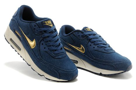 Nike Air Max 90 Denim Womens Dark Blue Gold Running Shoes