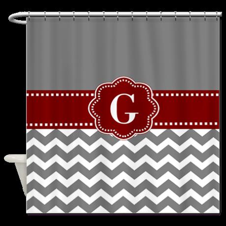 Gray Dark Red Chevron Monogram Shower Curtain By Designsbymanon Shower Curtain Monogram Personalized Shower Curtain Chevron Monogram