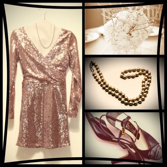 Holiday party dress! Pink sequin low cut mini dress with long sleeves and ruched waist. ALLOY Dresses Long Sleeve