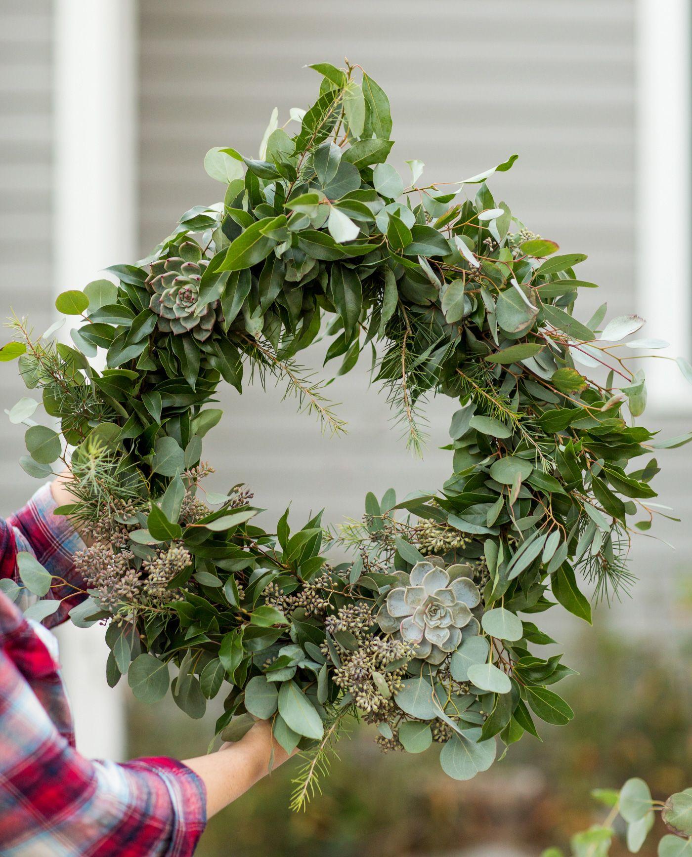 DIY Eucalyptus + Pine Christmas Wreath Homemade