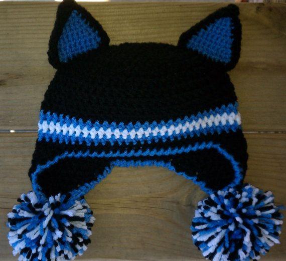 Football Crochet Earflap Hat - Carolina Panthers (Custom order ...