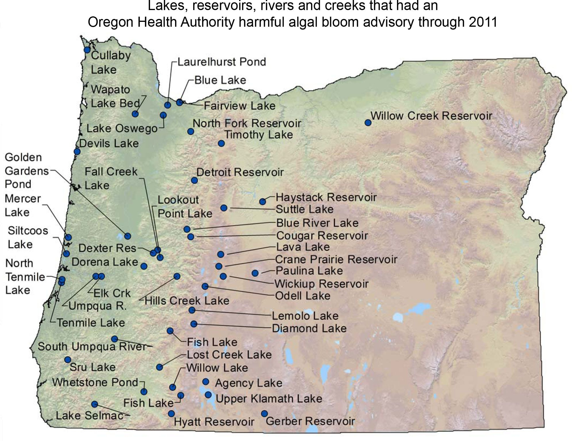Oregon DEQ Water Quality Harmful Algal Blooms Home Wild - Oregon lakes map