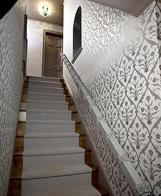 Great Suzie: Evelyn Chin Design   Silver Metallic Wallpaper, Pendant Chandelier  And Gray Stair Runner