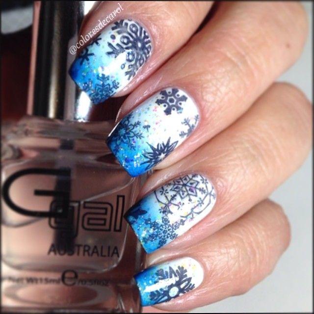 snowflakes by coloresdecarol #nail #nails #nailart