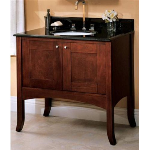 "Fairmont Designs F12536/FT3722BA/FS100WH Shaker 31"" to 44"" Bathroom Vanity - Dark Cherry / Black Absolute Granite at Shop.Ferguson.com"