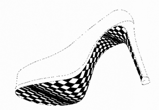 The mark consists of a distorted diagonal checker design illustrating an optical illusion applied to the sole, shank and heel breast of a woman's shoe