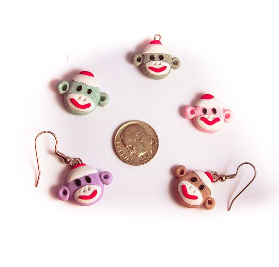 $6.50 --- Sock Monkey Face Charm MADE TO ORDER in Polymer Clay by #TrinketsByLeah on @Etsy!