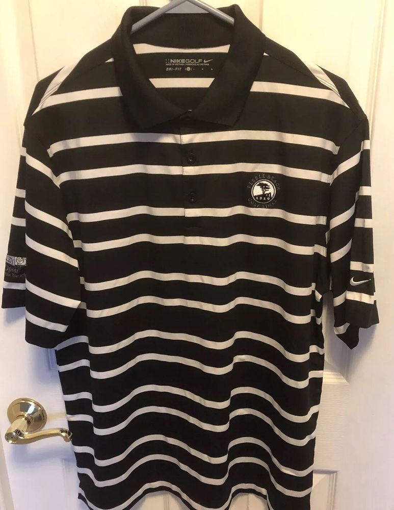 Nike Mens Shirt Large Golf Dri Fit Pebble Beach Black Striped Short Sleeved Fashion Clothing Shoes Accessories Mensclothing Shirts Ebay Link