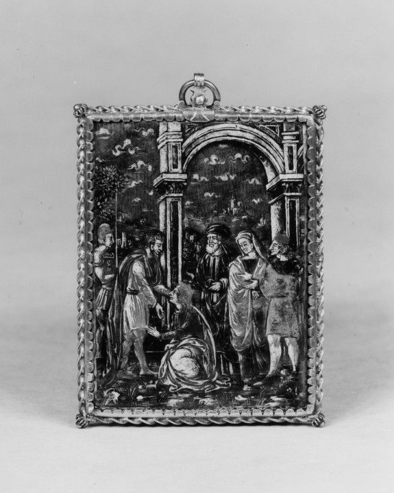 Late 15th century Venetian. Bassle taille enamel and engraving. Accession 44.262. Measurements: H: 3 1/16 x W: 2 5/16 in. (7.8 x 5.9 cm)
