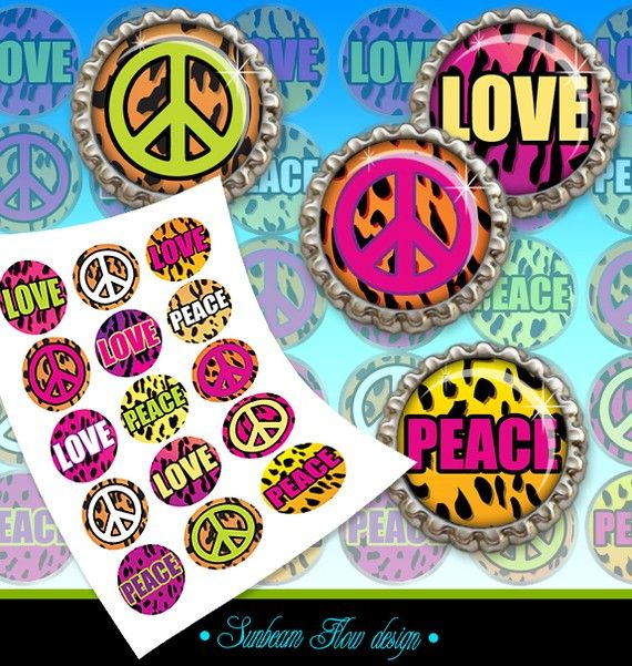 Digital Collage Sheet - Bottle cap images - Own Graphics - 1 Circles Animal Skin 03 Hot Pink Peace by SunbeamFlowTemplates, $1.80
