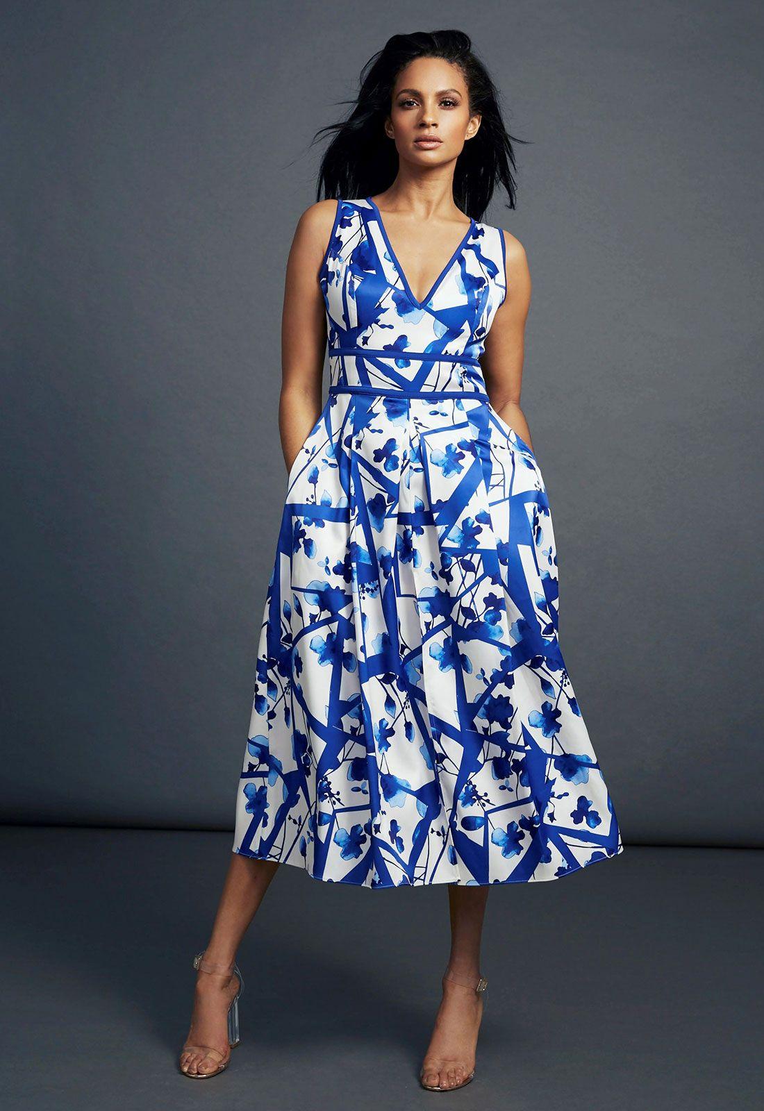 ALESHA DIXON Alesha Dixon Abstract Flower Print V-Neck Midi Dress in ...