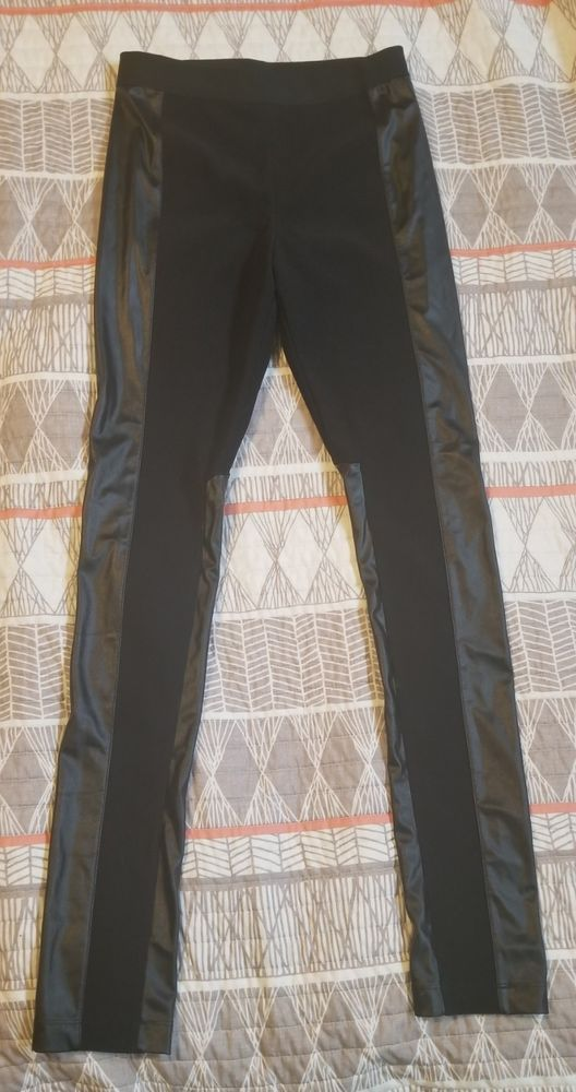 b30eb674bc0c70 BCBG MAX AZRIA BLACK CARAGH FAUX LEATHER COMBO LEGGING SZ SMALL #fashion  #clothing #shoes #accessories #womensclothing #leggings (ebay link)