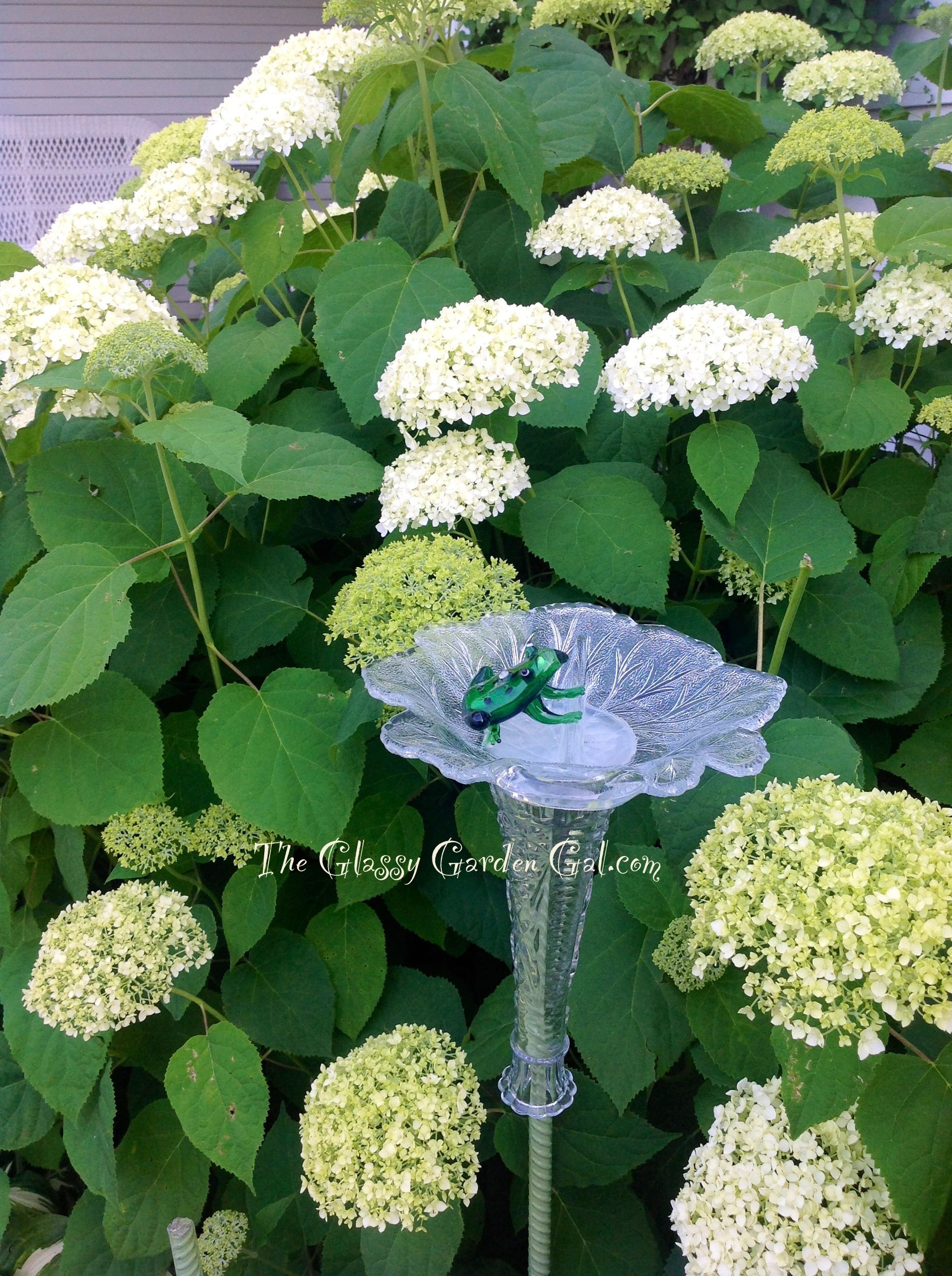 Glass bird feeder, Glass garden art, yard art, repurposed recycled ...