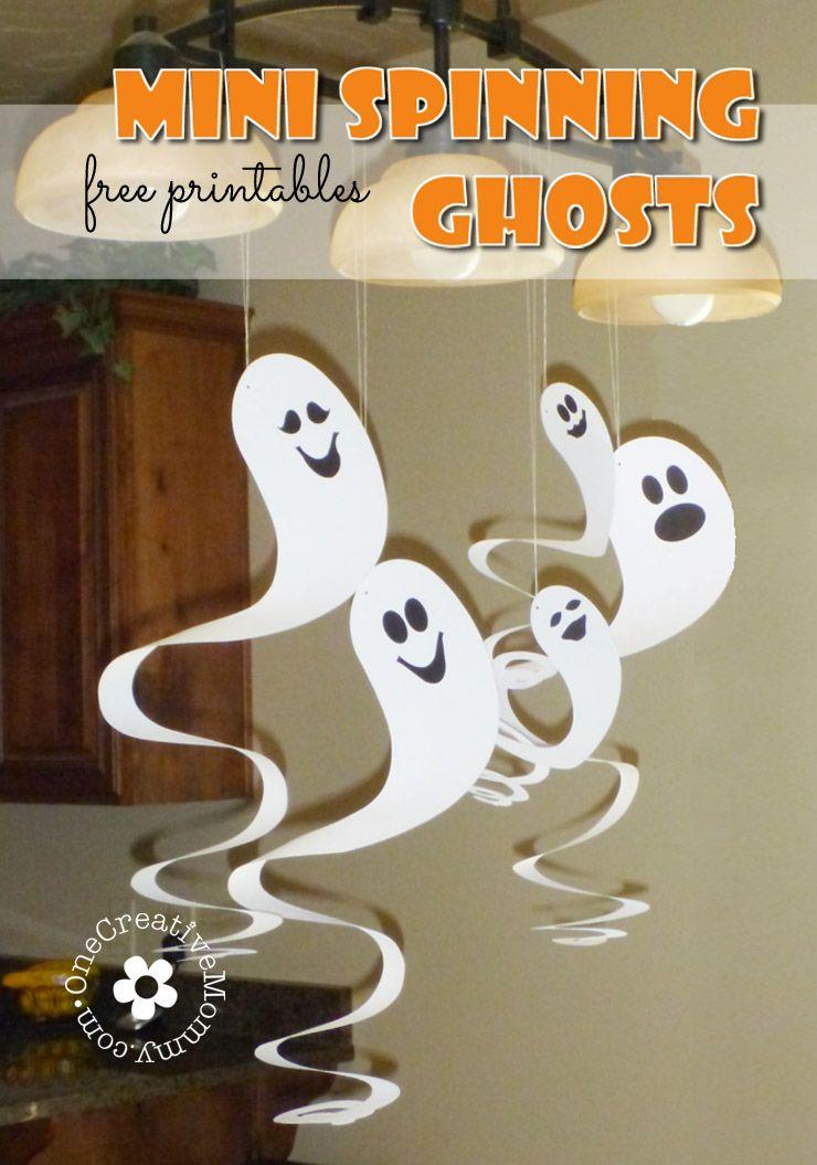 Easy Cardboard Spinning Ghosts Onecreativemommy Com Decoración De Halloween Diy Decoración De Halloween Fantasmas De Halloween