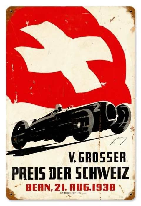 Vintage Swiss Race Car Metal Sign 12 X 18 Inches Cars