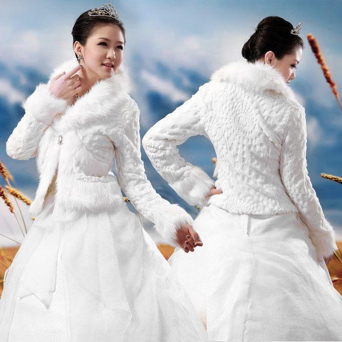Elegant Lapel Neck Imitated Fur Wedding Shawl For Bride (BEIGE) | Sammydress.com