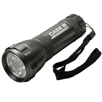 12 LED Flashlight | ShopCaseIH.com. Ideal for the glove compartment, tool box, purse or desk drawer, this powerful flashlight features a dozen super-bright LEDs that cast a wide, even swath of illumination. Powered by 3 AAA alkaline batteries (included), flashlight features a positive-action weather-proof switch to prevent accidental battery drain. #CaseIH #flashlight