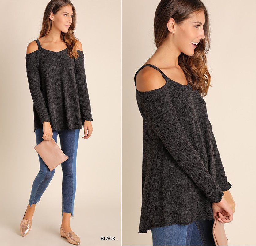 25b01e362 Umgee Cold Shoulder Tunic Sweater Soft Ribbed Long Sleeve Loose Swing  Bottom Top