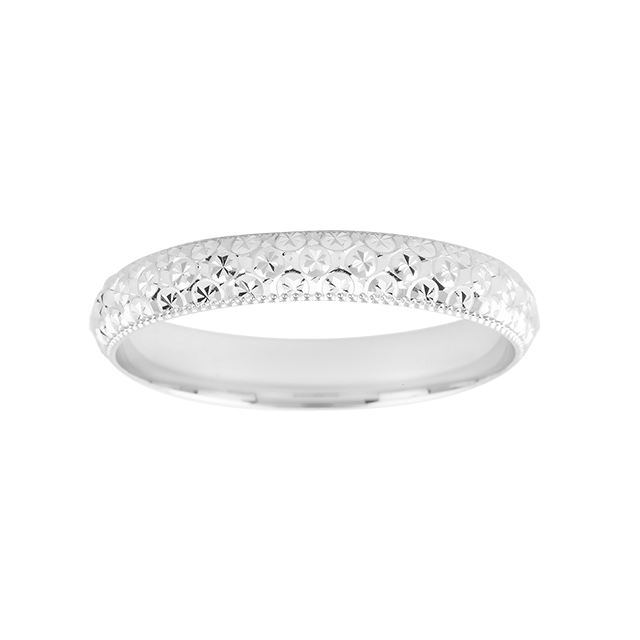 domed diamond cut ladies wedding ring in 9 carat white gold gifts goldsmiths
