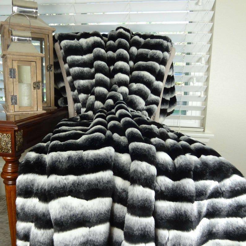 Black White Chinchilla Faux Fur Throw Blanket & Bedspread