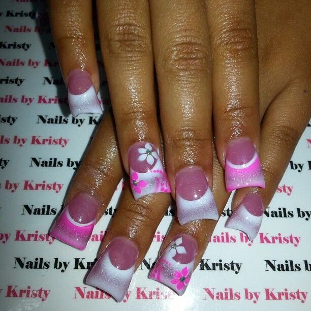 Pink White Airbrush Princess Flowers Rhinestones C Cut Curved Acrylic Nails By Kristy Pureplatinumsalonandspa Pureplatinumsalon