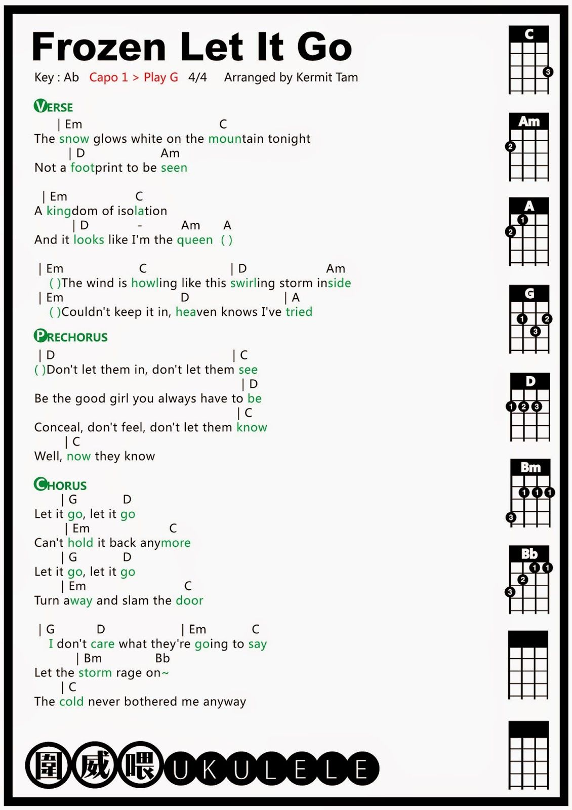 Frozen Libre Soy Letra 圍威喂 Ukulele Frozen Let It Go Ukulele Tab Ukulele