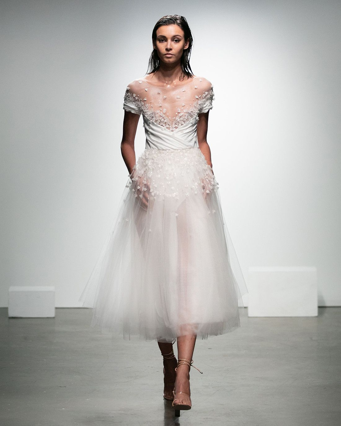 7ad8bf9d5439 Rime Arodaky Fall 2019 - Midi wedding dress with illusion neckline and  tulle skirt.  RimeArodaky  bfw  bfw2019  bridalfashionweek ...