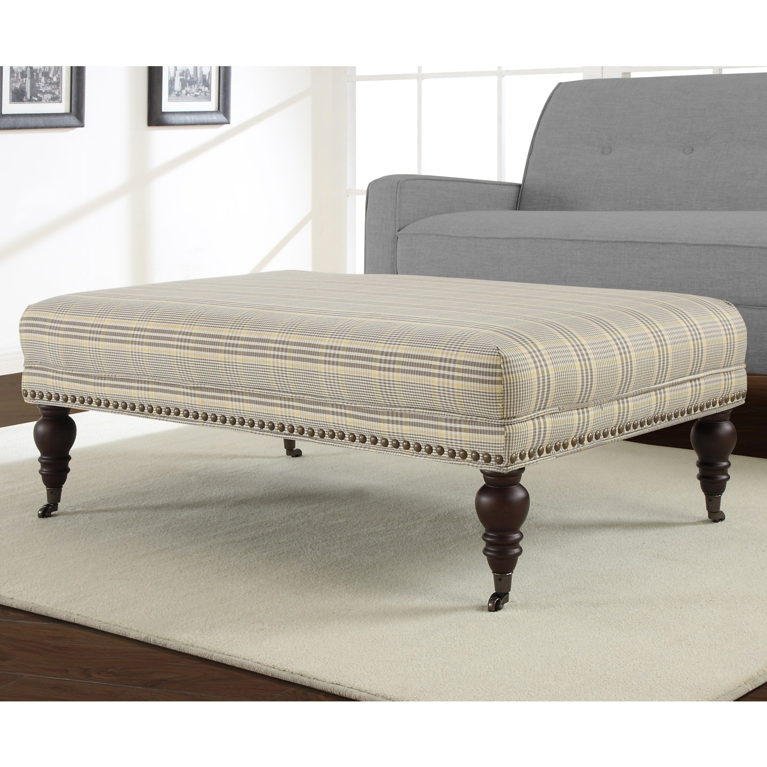 Flat Top Plaid Rectangular Ottoman | Overstock.com Shopping - The ...