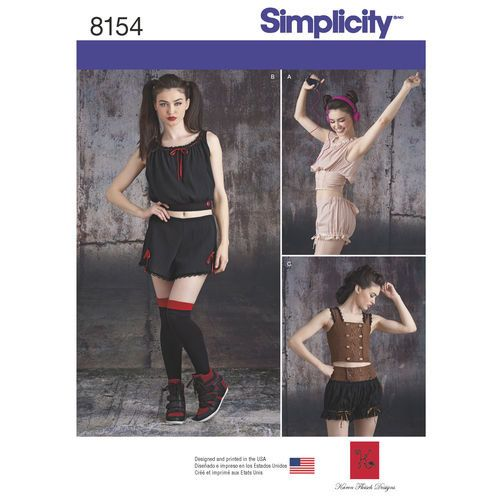 Simplicity 8154 Camisole Tops, Shorts & Bloomers Alternative Fashion ...