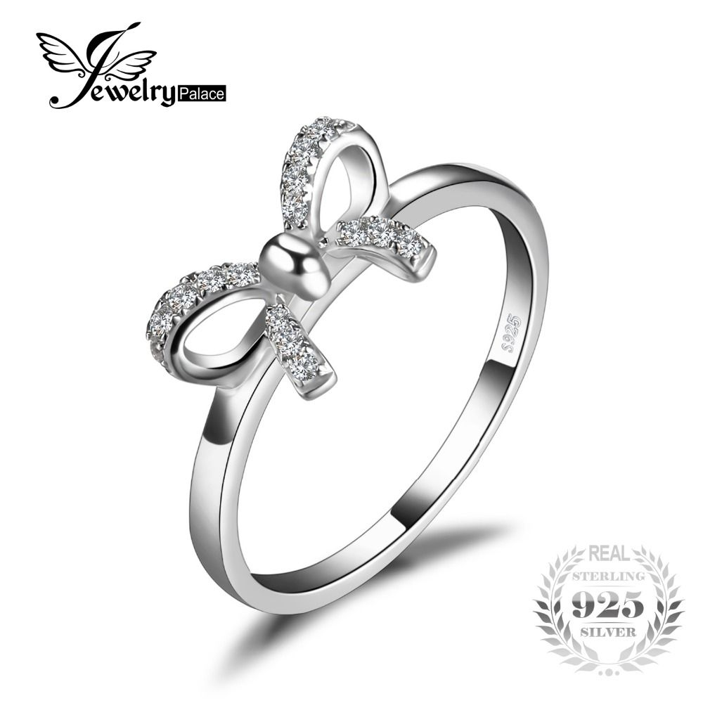 925 Sterling Silver Rhodium-plated Bow Ring for Women Fine Jewelry Ideal Gifts For Women