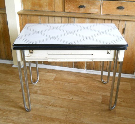 Vintage Enamel Top Table Black And White Metal Chrome And Etsy Vintage Kitchen White Metal Black And White