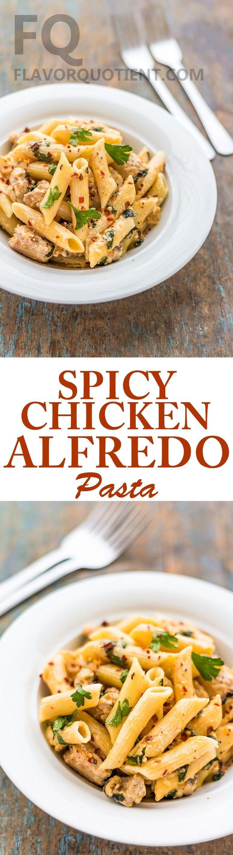 Spicy Chicken Alfredo Pasta | Recipe | Easy healthy pasta ...