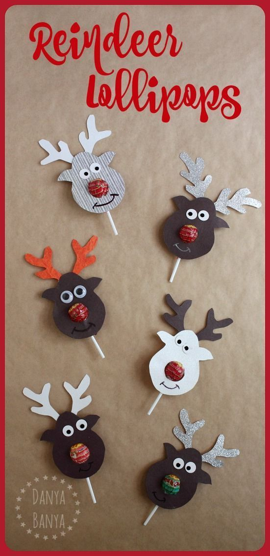 Cute Christmas Craft Gift Ideas Part - 49: Rudolph The Red-nosed Reindeer Lollipop Craft - Super Cute Gift Idea For  Kids School Classmates For Christmas.