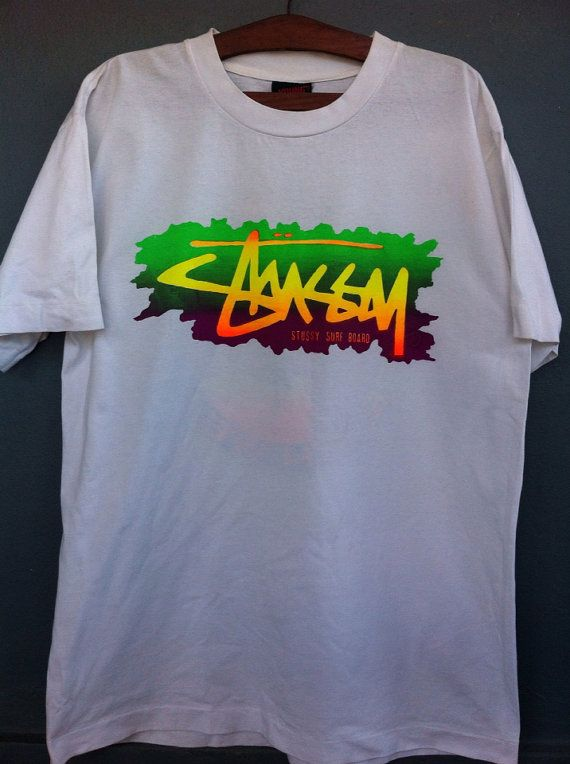 ae6751ea9 Vintage 80s Rare Stussy Surf Board Beach Wear T-shirt Made in Bali  Indonesia. Single Stitching on Etsy, $37.93