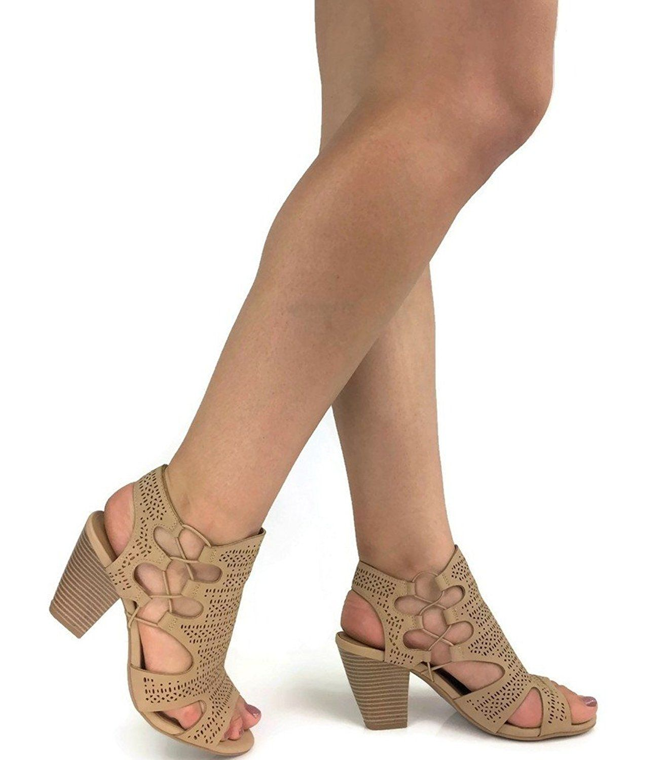 | City Classified Open Toe Perforated Lace up
