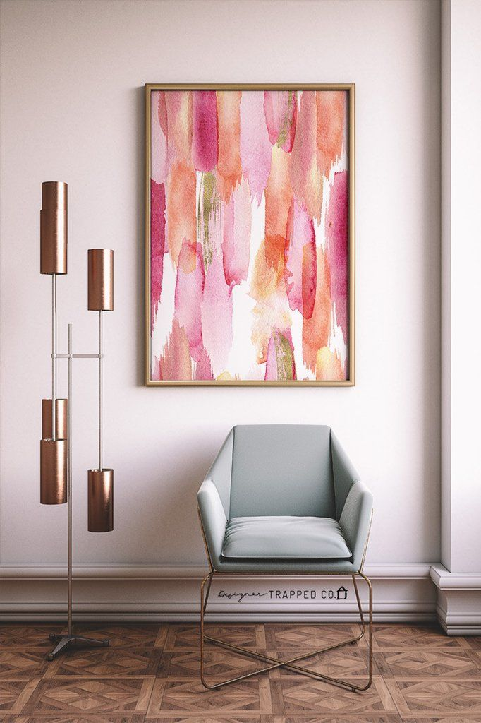 Watercolor Strokes Abstract Wall Art- Pink & Peach | Pinterest ...