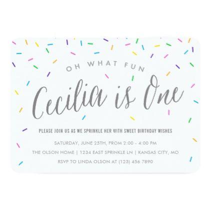 Cecilia\u0027s Sprinkle 1st Birthday Party Card Party gifts, Birthdays