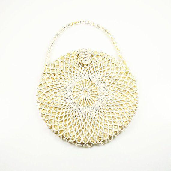 Art Deco Handbag Czechoslovakia White Beaded Purse 1920s 1930s Wedding Bridal