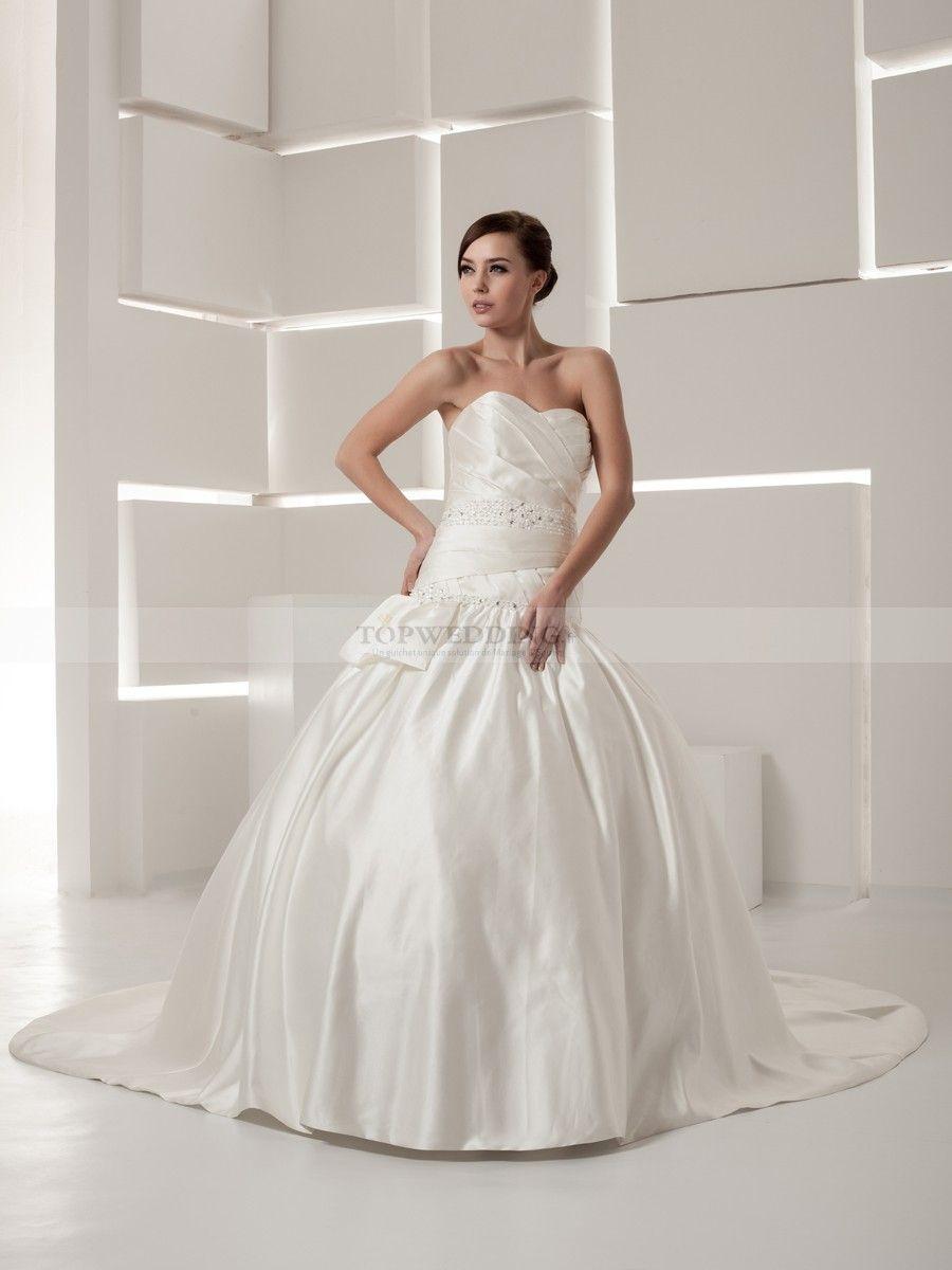 Perita - robe de mariée mode de bal col en cœur en satin avec perlage