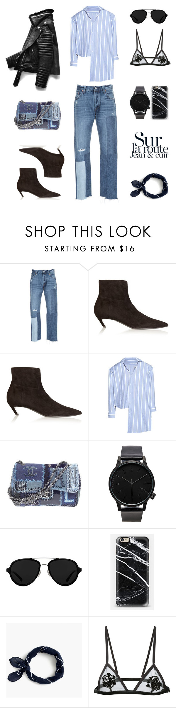 """Unbenannt #702"" by fashionlandscape ❤ liked on Polyvore featuring Levi's, Balenciaga, Chanel, Komono, 3.1 Phillip Lim, Casetify, J.Crew and Fleur du Mal"
