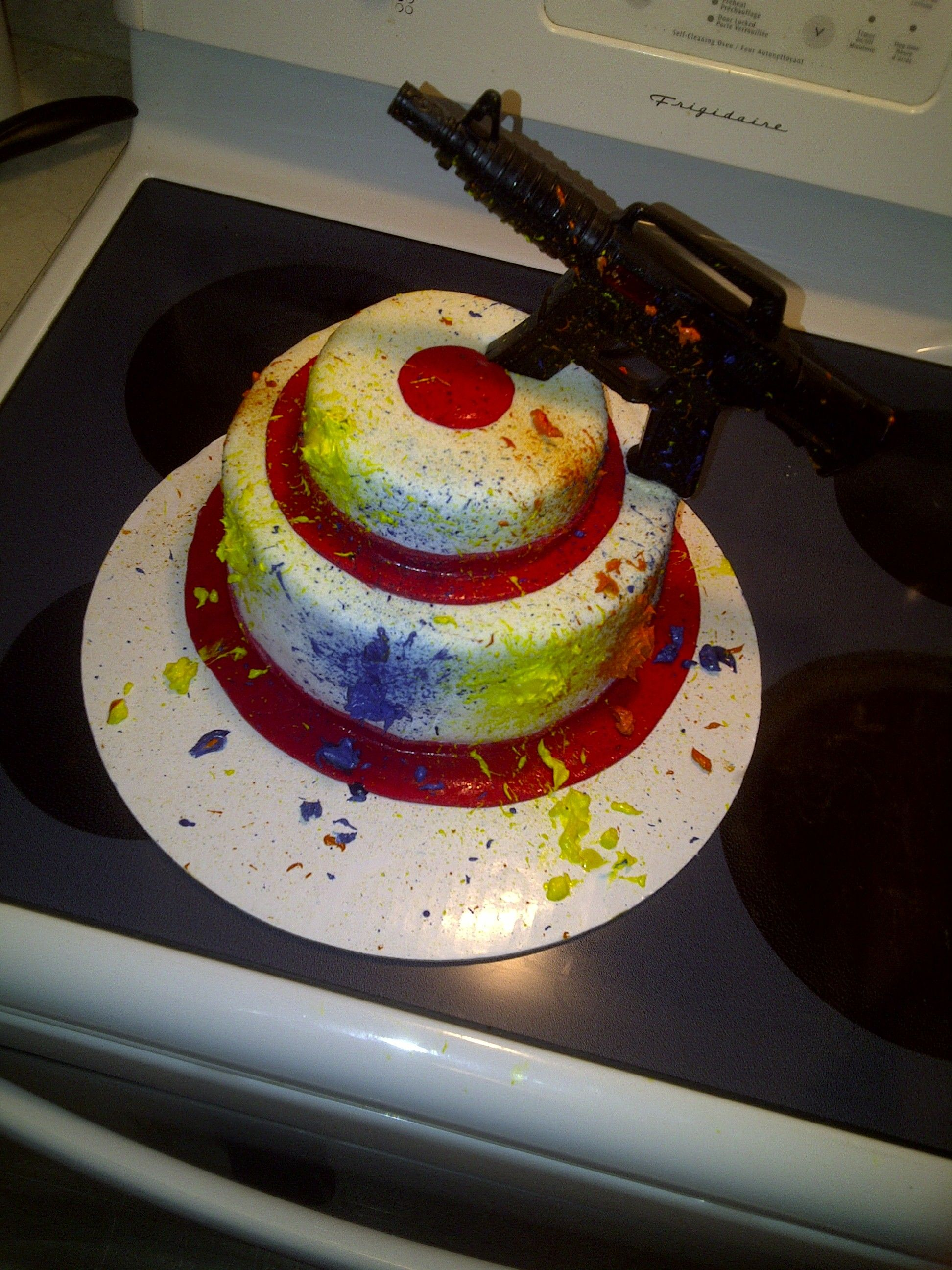 Paintball target cake logan would love one of these