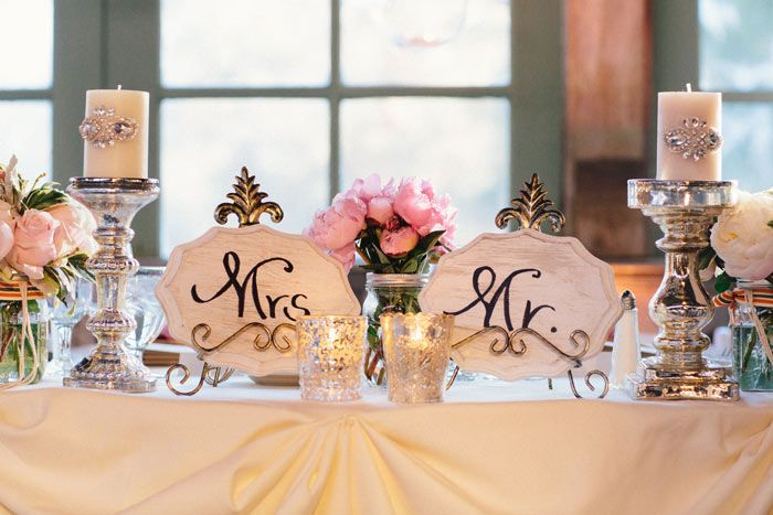 Amazing Elegant Pink And Silver U0027Bride U0026 Groomu0027 Table Setting // Via The Modern Photo Gallery