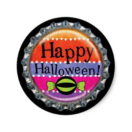 Halloween Happy Halloween Bottle Cap Classic Round Sticker - craft - halloween design