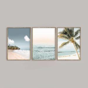 Beach Print Set of 3, Palm Tree & Ocean Digital Do
