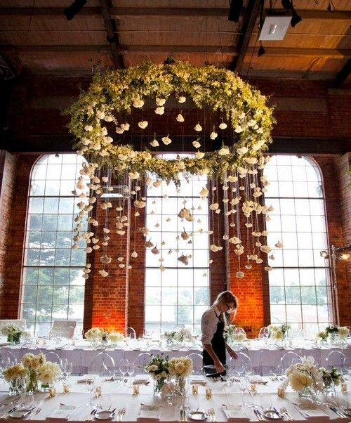 Wedding decoration trend floral greenery chandelier 26 for Hula hoop decorations