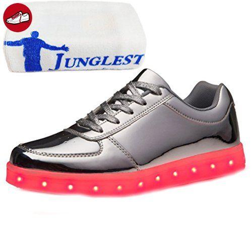 [Present:kleines Handtuch]Silber EU 46, JUNGLEST® Schuhe Turnschuhe Metallic Party Sneakers weise Sport Aufladen Farbe Damen Leuchtend für USB