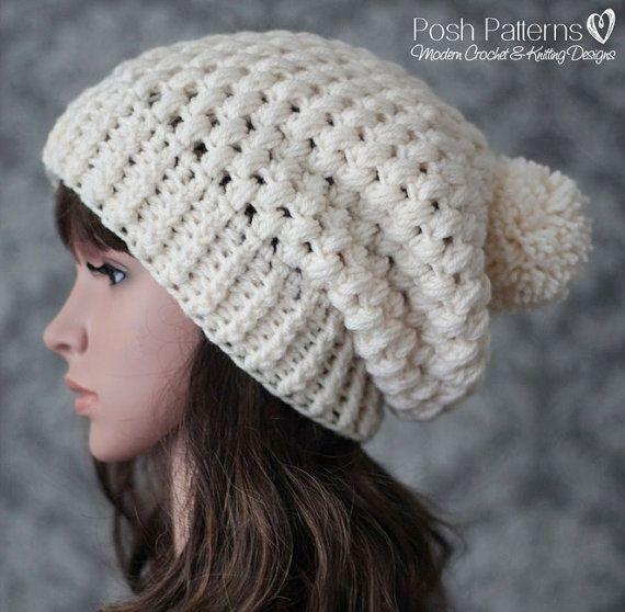 Crochet PATTERN - Crochet Hat Pattern - Slouchy Hat Pattern - Puff ...